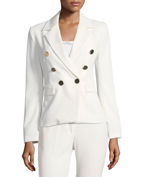 Sadie Double-Breasted Crepe Blazer
