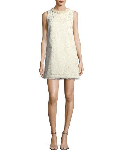 Spencer Sleeveless Metallic Brocade A-line Dress