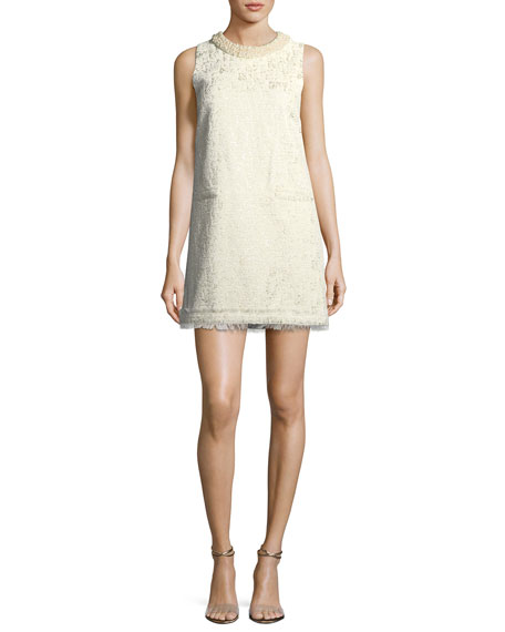 Spencer Sleeveless Metallic Brocade A-line Dress
