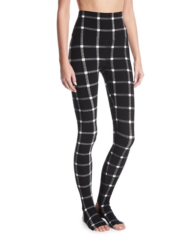 Grid Stretch-Jersey Leggings w/ Footie