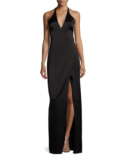 Wrap-Style Halter Column Gown