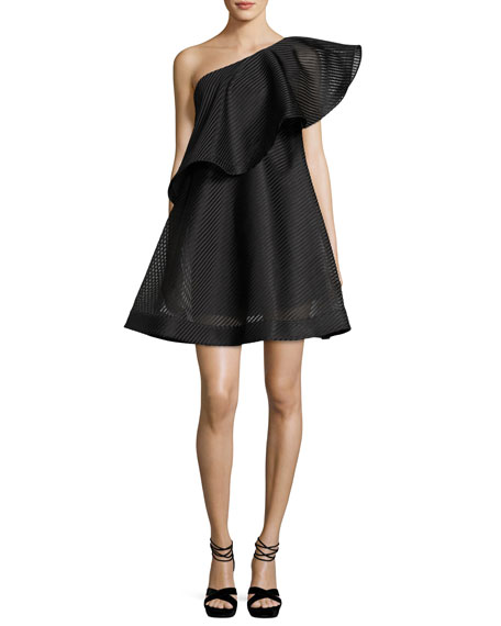 29c02ddfdb3a6 Halston Heritage One-Shoulder Flounce Striped Mesh Cocktail Dress