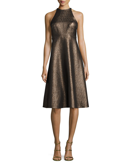 Sleeveless Metallic Halter Jacquard Cocktail Dress