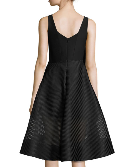 Sleeveless Wide-Neck Stripe Mesh Cocktail Dress
