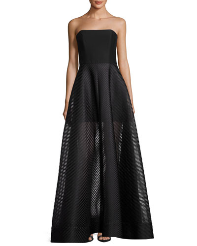 Strapless Evening Gown w/ Sheer Striped Skirt