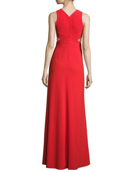 Sleeveless Deep-V Evening Gown w/ Side Cutouts