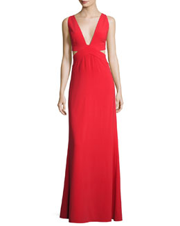 Sleeveless Deep-V Evening Gown w/ Side Cutouts