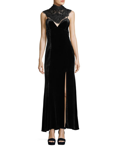 Sleeveless Velvet Gown w/ Beaded Corset Neck Piece