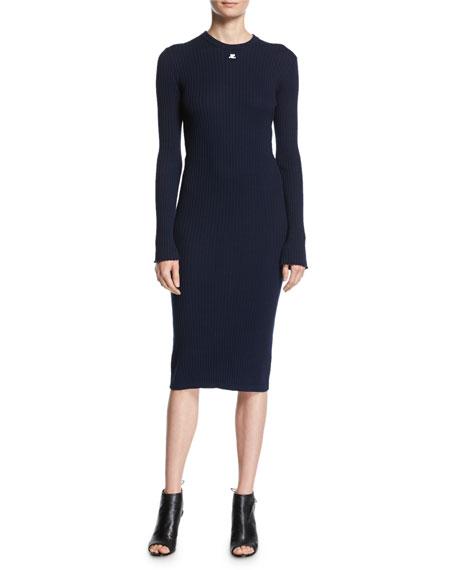 Long-Sleeve Ribbed Midi Dress