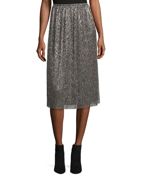 Metallic Jersey Midi Skirt