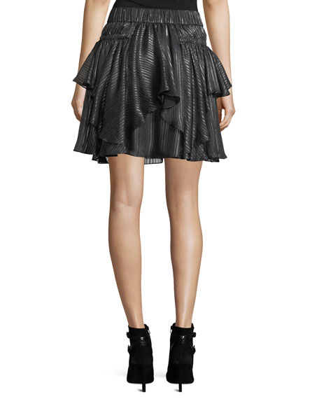 Metallic-Striped Flounce Skirt