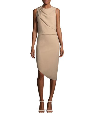Drape-Front Asymmetric-Hem Sheath Dress