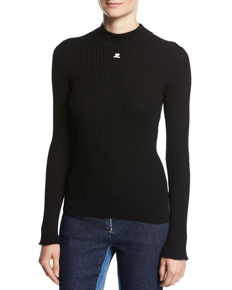 Knit High Neck Ls Open