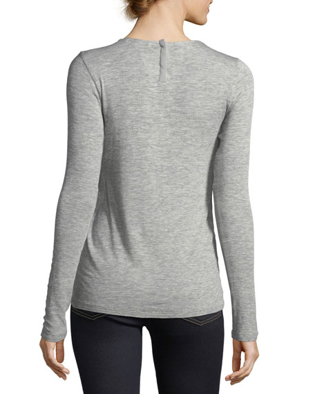 Notch-Neck Long-Sleeve Top