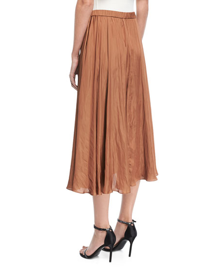 Leather-Detail Midi Skirt