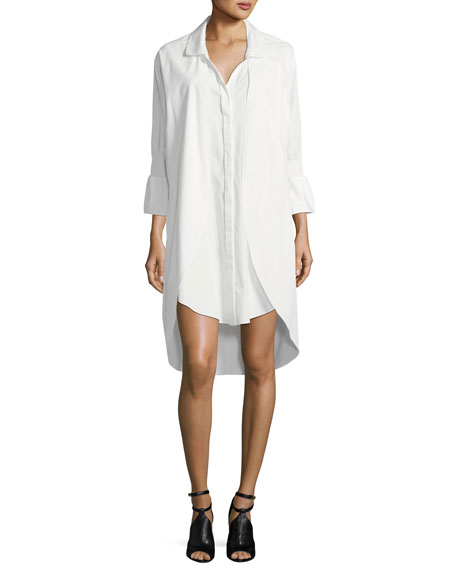 Smocked-Sleeve Shirtdress W/ Overlay Detail
