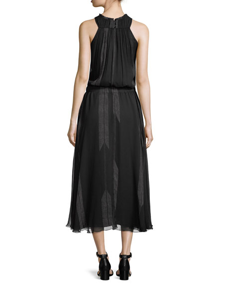High-Neck Ruched Silk Midi Dress