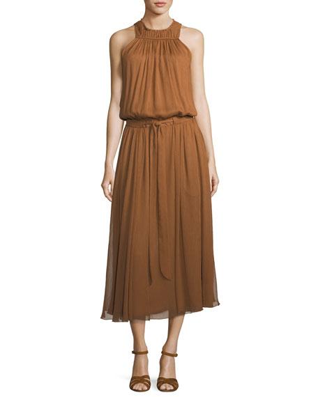High-Neck Ruched Midi Dress