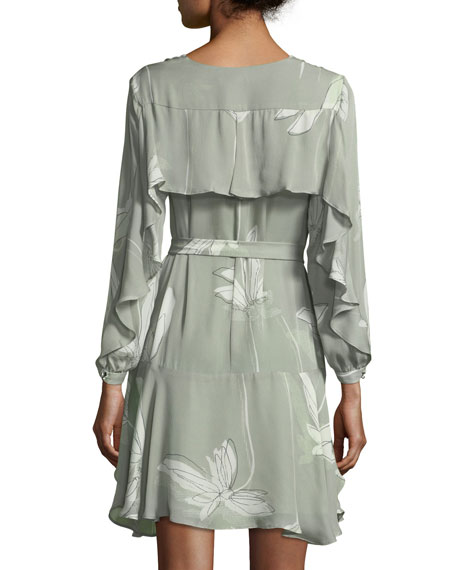 Long-Sleeve V-Neck Printed Silk Flounce Dress