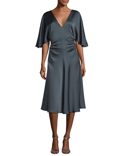 Flowy-Sleeve Satin Cocktail Dress