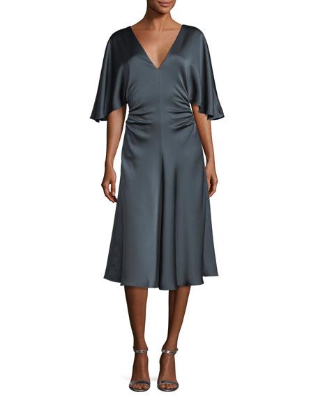 Flowy-Sleeve Satin Cocktail Dress