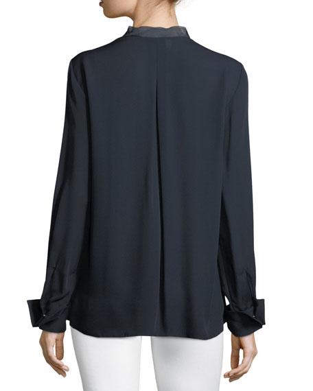 Temptra Silk Button-Placket Blouse