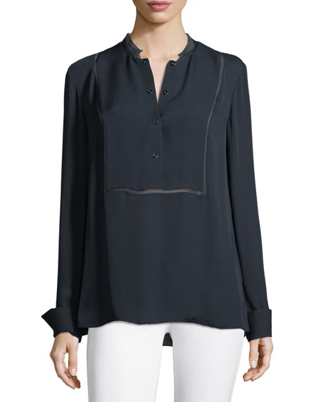 Temptra Silk Button-Placket Blouse
