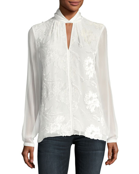 Elastia Floral-Flocked Blouse