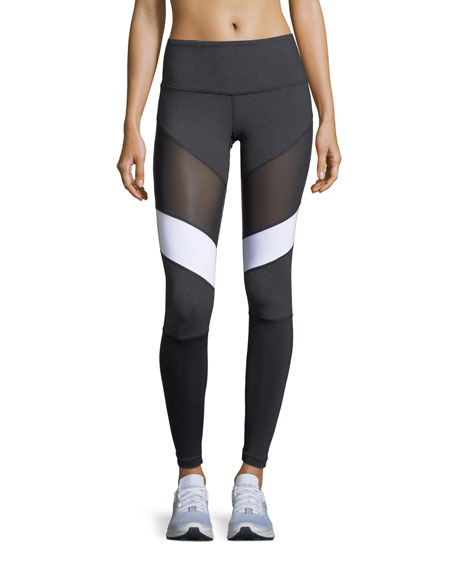 Adiago Mid-Rise Mesh Paneled Performance Leggings