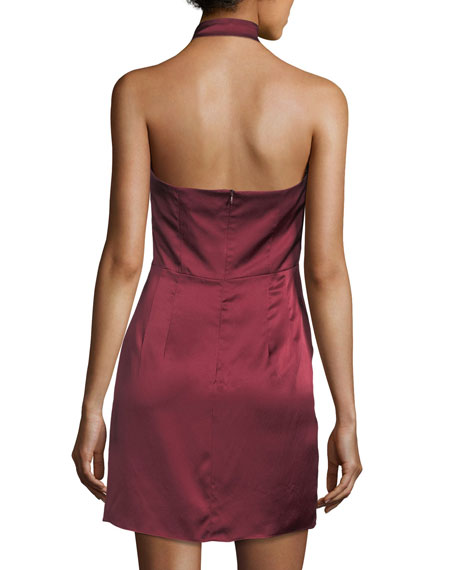 Satin Sleeveless Sheath Halter Dress