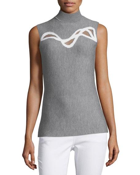 Prianka Sleeveless Mesh-Inset Sweater