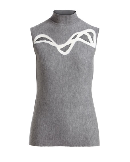 Prianka Sleeveless Mesh-Inset Sweater