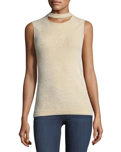Clovra Choker-Collar Sleeveless Sweater