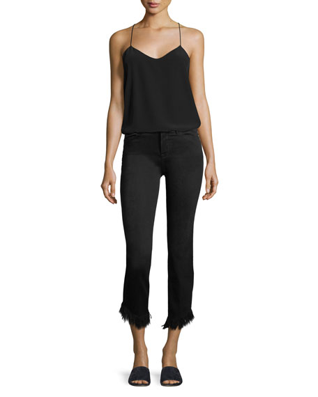 Le High Straight-Leg Cropped w/ Frayed Hem