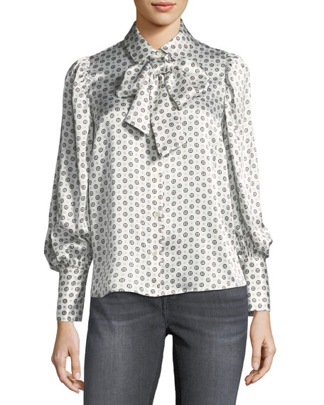 Tie-Scarf Voluminous Paisley-Printed Silk Blouse