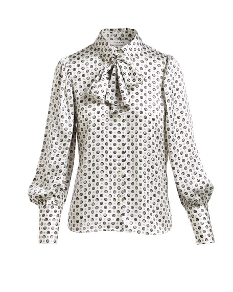 Tie-Scarf Voluminous Paisley-Printed Silk Blouse