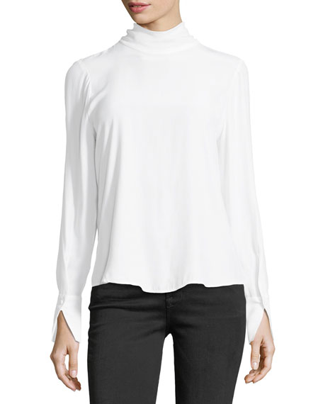 Turtleneck Long-Sleeve Silk Blouse