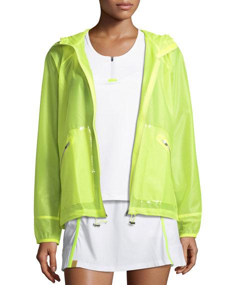 Wave Hooded Zip-Front Wind-Resistant Jacket