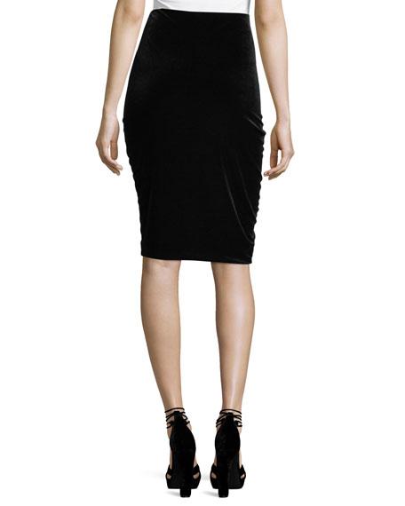 Hypnotist Ruched Velvet Pencil Skirt