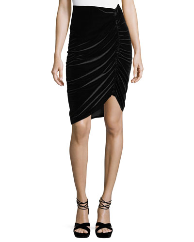 Hypnotist Ruched Velvet Pencil Skirt