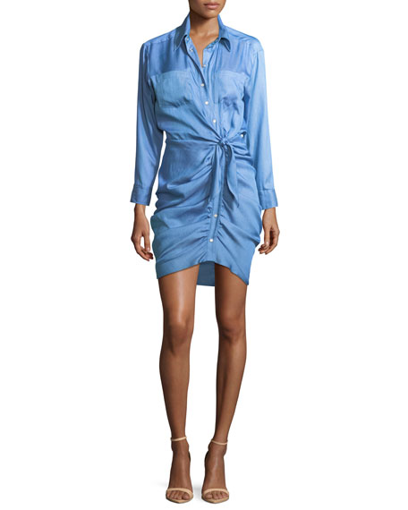 Sierra Button-Front Ruched Mini Dress