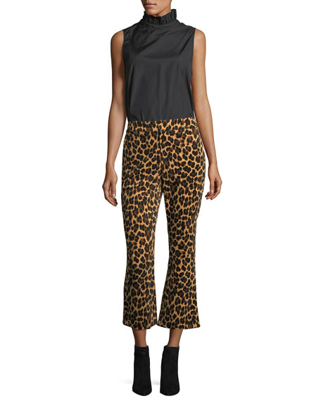 Cheetah-Print Cropped Flared Pants