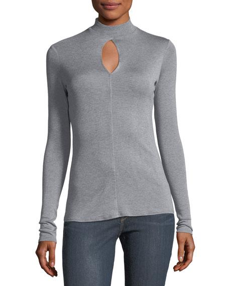 Mock-Neck Keyhole Long-Sleeve Silk Top
