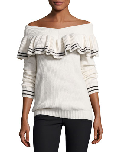 Striped Off-the-Shoulder Rib-Knit Sweater