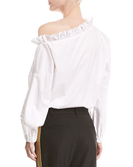 One-Shoulder Long-Sleeve Poplin Top