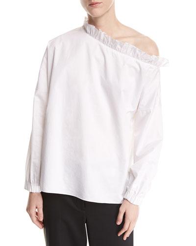 One-Shoulder Long-Sleeve Poplin Top