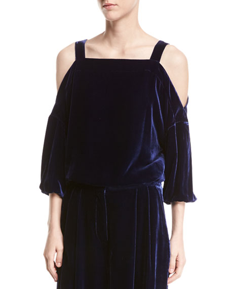 Velvet Cold-Shoulder Top