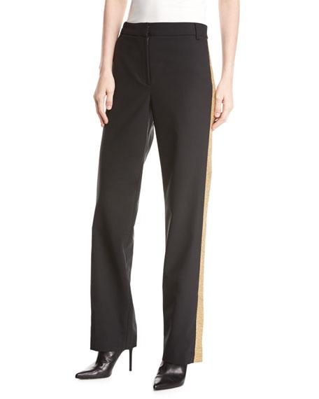 Wool-Blend Embellished Tux Straight-Leg Pants