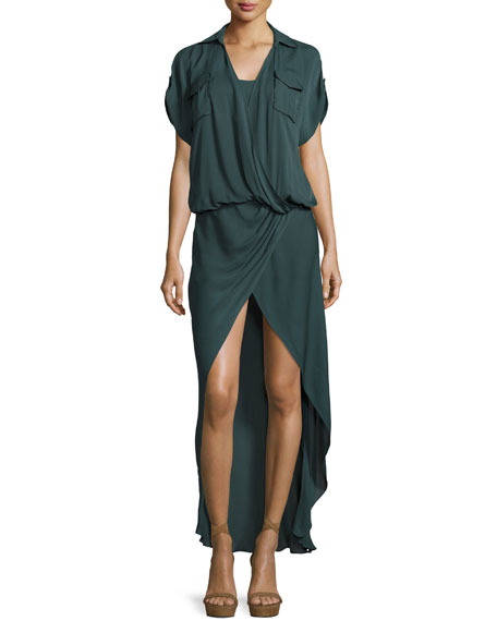 From the Ashes Silk Faux-Wrap Dress