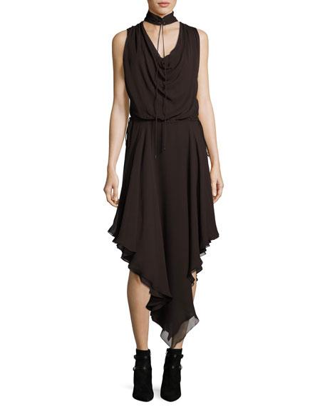 Twilight Sleeveless Choker Silk Midi Dress